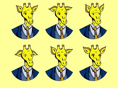 Gerome popart emotion giraffe flat illustration vector illustration illustration illustrator