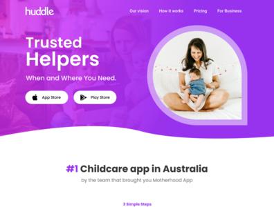 Huddle App Landing page Concept baby babies chidcare ux design uidesign babysitter website