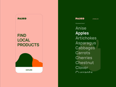 Pasco - Local Food Directory UI iphone productdesign uiux design salmon ui mobile sustainability food illustration motion animation identity branding