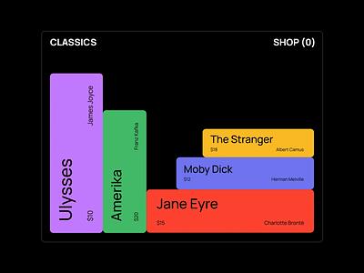 Classics - Bookshop bookshelf bookshop books e-commerce shopping cart shopping illustration typography ui minimal vector flat motion design animation