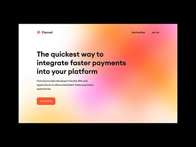 Flannel motion fintech desktop website payments shopping gradient ui