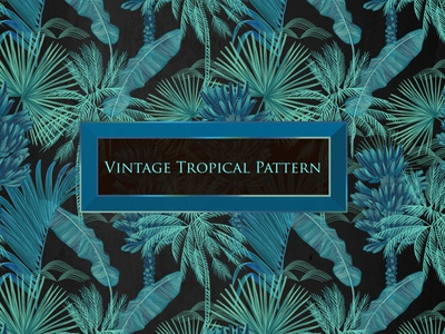 Tropical vintage pattern black pattern pattern art illustration fashion design fashion fabric design fabric design artwork