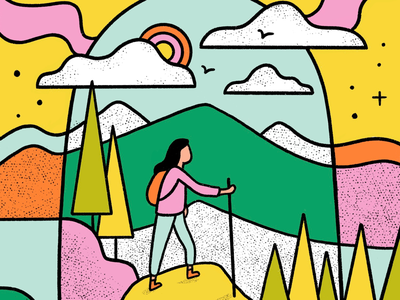 Wilderness woman hiker pop art mountains hiker hiking wilderness outdoors nature