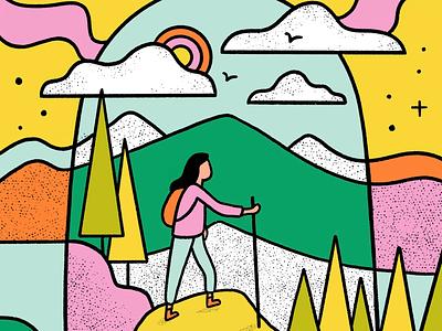 Wilderness woman hiker pop art mountains hiker hiking wilderness outdoors nature