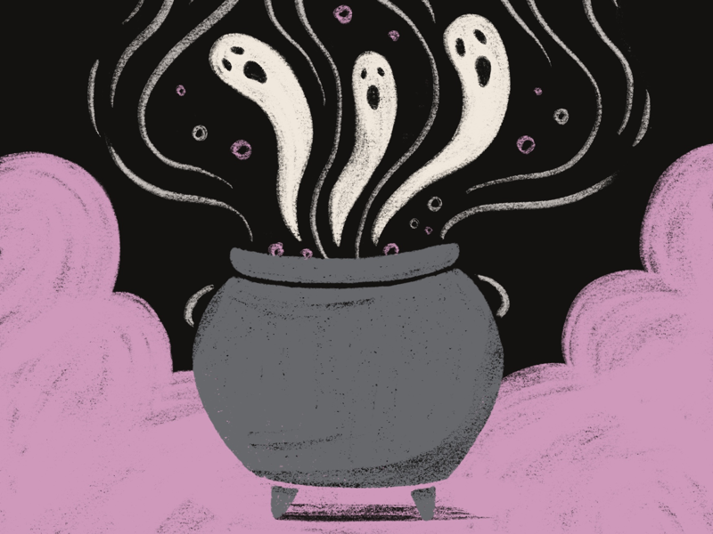 Evening Brew potions halloween witch potion cauldron spirits inktober ghosts ghost brew