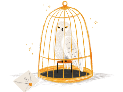 Hedwig magic hogwarts mail wizard birdcage bird harry potter owl hedwig
