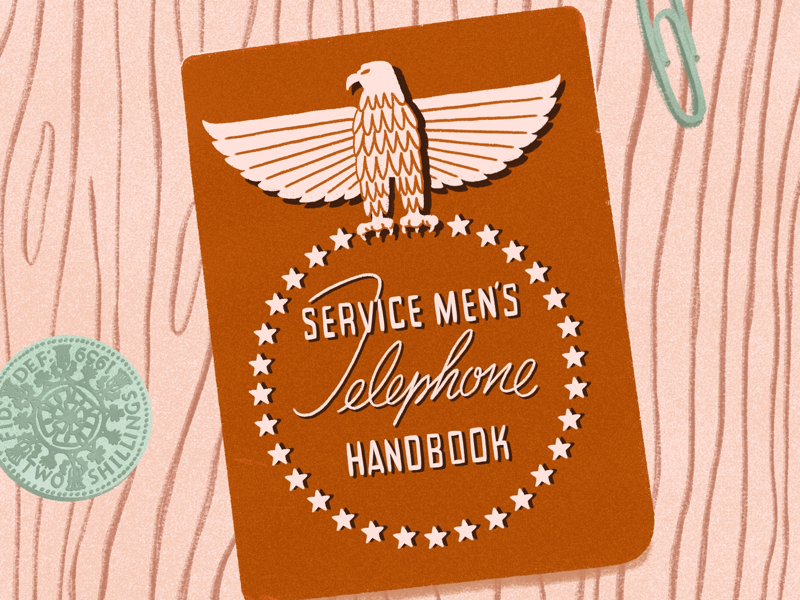 Mementos coin forties 40s souvenir memento handbook telephone shilling americana eagle veteran military army