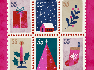 Holiday Stamps snow stocking christmas stamps christmas happy mail mail post postage holiday stamps stamps