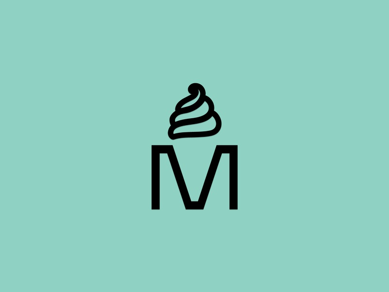 M ice macedonian customtype simple negativespace smart clean typography minimal logodesign logo icecream