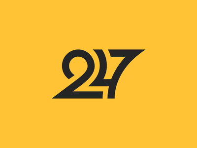 247 service round sharp clean numbers typography logo symbol 247