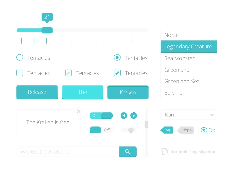Freebie - Flat Kraken UI Kit ui kit free colorful download flat buttons forms green blue web handmade legendary open sans ai vector