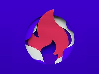 Paper Flames font 3d render illustration blue red colorful paper flame