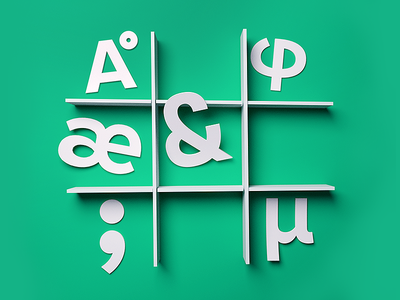 Glyphs — Paper Illustration ampersand typography render 3d shadow green glyphs paper