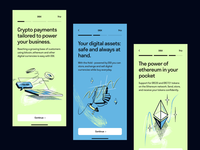 Crypto App Onboarding illustrations mobile ui clean minimal onboarding illustration onboarding screen crypto app onboarding web illustration mobile illustration app illustration vector blockchain investment ethereum cryptocurrency crypto graphics app