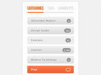Sidebar Category Tabs & Buttons