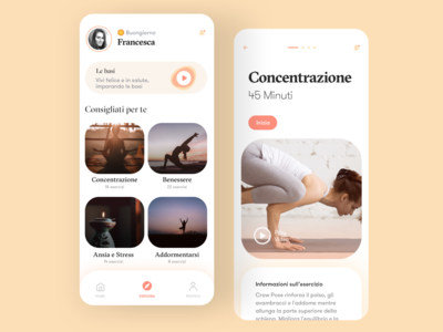 Yoga App trainer training app training yoga mat yoga yoga logo yoga pose yoga studio gym app gym homepage yoga app daily ui dailyui redesign concept ux interface ui