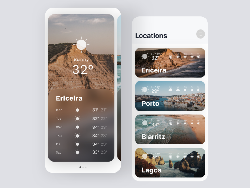 Daily UI #37 | Weather App surf portugal travel travel app weather icon weather weather app daily ui 037 dailyuichallenge daily ui challenge dailyui redesign ux concept interface ui