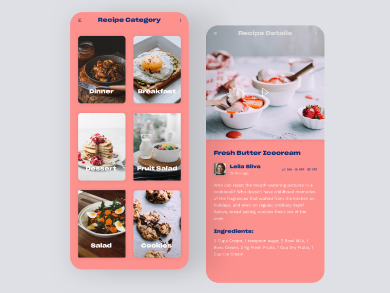Daily UI #40 | Recipe video app cookies cook cooking app food app food recipes recipe card recipe app recipe daily ui daily ui 040 dailyuichallenge daily ui challenge dailyui redesign concept ux interface ui