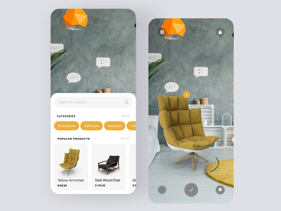 Daily UI #73 | Virtual Augmented Reality furniture store furniture app augmentedreality virtualreality augmented reality augmented virtual reality virtual tour daily ui 073 online store ecommerce daily ui dailyuichallenge daily ui challenge dailyui redesign concept ux interface ui