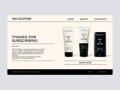 Daily UI #77 - Thank You sunscreen salt and stone thanks for subscribing subscribe subscription thank you card thankyou thank you page thank you ecommerce online store daily ui dailyuichallenge daily ui challenge dailyui redesign concept ux interface ui