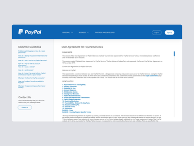 Daily UI #89 | Terms of Service terms and conditions payment payment app policy agreement terms terms of service paypal payments daily ui dailyuichallenge daily ui challenge dailyui redesign concept ux interface ui