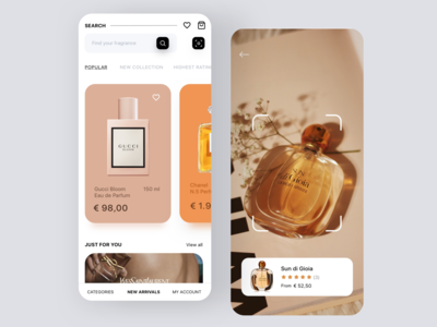 Perfume eCommerce App categories sketch sketchapp fragrance search results camera app carousel mobile ui mobile app perfume shop perfume online store ecommerce app redesign concept ux interface ui