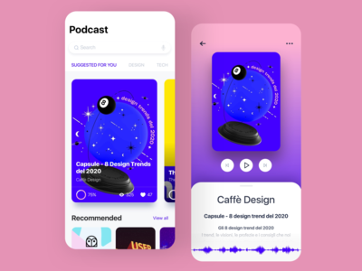 Podcast | Caffè Design music player mobile design mobile app design caffè café podcast art audiobooks audio player audio app audiobook music app podcasts podcasting podcast redesign concept ux interface ui