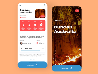 Donations for Australia Mobile App nature save forest donate australian wildfire fire extinguisher fire australia donations concept ux interface ui