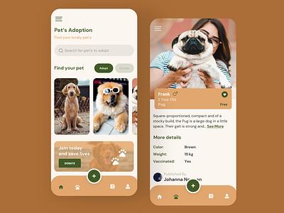 Pets Adoption Mobile App mobile design mobile ui dog donate mobile app design mobile app adoption adopt pet redesign concept ux interface ui