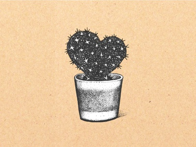 Cactus Heart travels heart monochrome hand-drawn ink drawing illustration stars succulent texas cacti cactus
