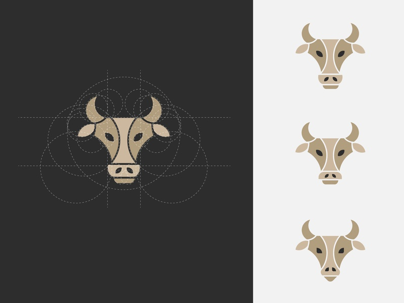 Bull Explorations with Golden Circles bulls circular grid golden ratio circle branding graphic simple minimal flat logo design