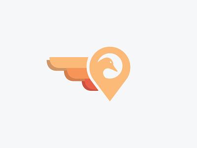 Bird Marker simple minimal logo geometric flat design circle bird