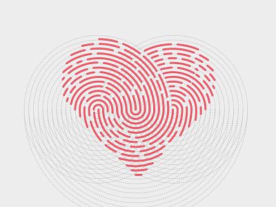 Heart Fingerprint heart fingerprint finger grid line circular design graphic