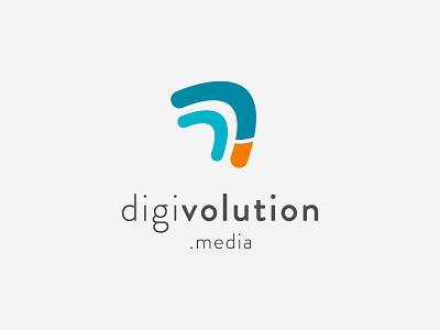 Digivolution Logo simple minimal boomerang letter d logo digital marketing graphic design vector branding flat