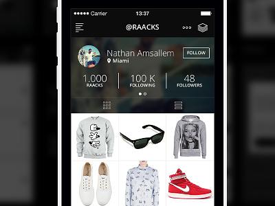 Raacks brand shop ux ui design iphone apple ios app