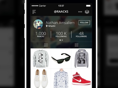 Raacks brand shop ux ui design iphone apple ios app