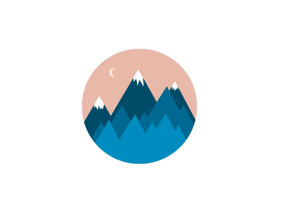 Mountains and the moon graphic design design illustration