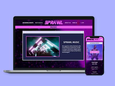 Sprawl. Online music festivals design ui figma