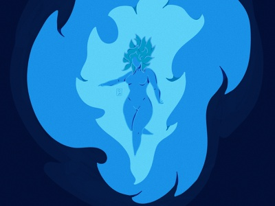 Wisp #2 spirit woman girl fire blue illustration willowisp wisp inktober2020 inktober