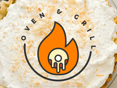 Oven & Grill fire flame doughnut donut catering food logo