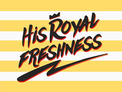 His Royal Freshness branding logo typography funky thunder againts music