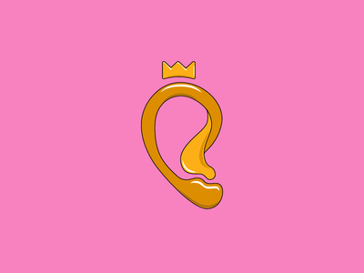 Royalear sound king honey gold candy design branding logo