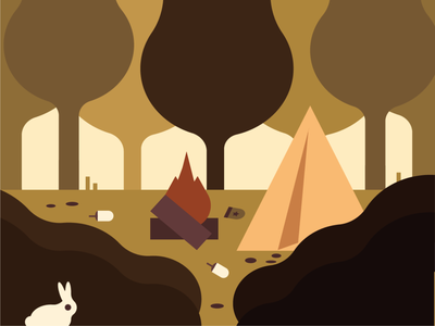 urban forest animals trees nature flat tent tourism people problem bunny trash forest vector illustration
