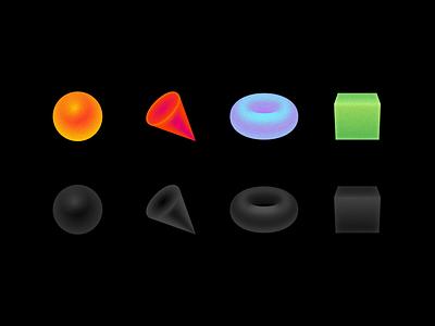 Geometric Primitives primitivegeometry primitives vector 3d figures figure geometric geometry neon green blue red orange cube torus cone sphere