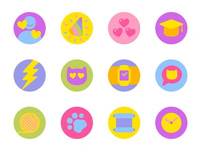 Kruzo Achievements cone hat watch scroll yarnball paw clock lightning heart ios game center achievements icons