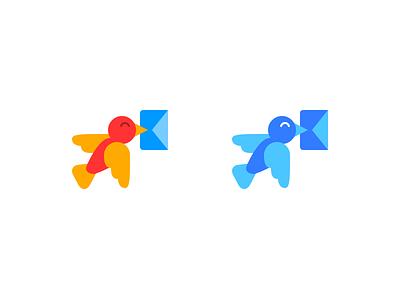 Messengest Logo vector orange blue mark message letter bird logos