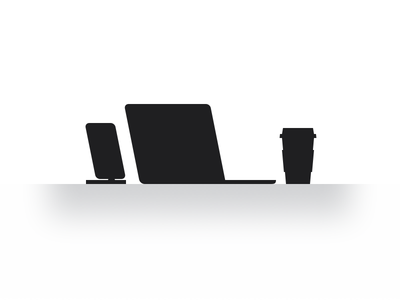 Workplace starbucks table pictograms silhouette black setup workplace dock coffee iphone laptop notebook