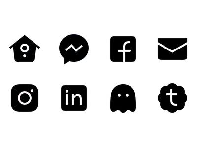 Contact Icons social black tumblr snapchat linkedin instagram e-mail facebook messenger twitter pictograms icons