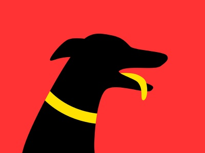 Greyhound Userpic puppy userpic black snoot tongue collar yellow red dog greyhound