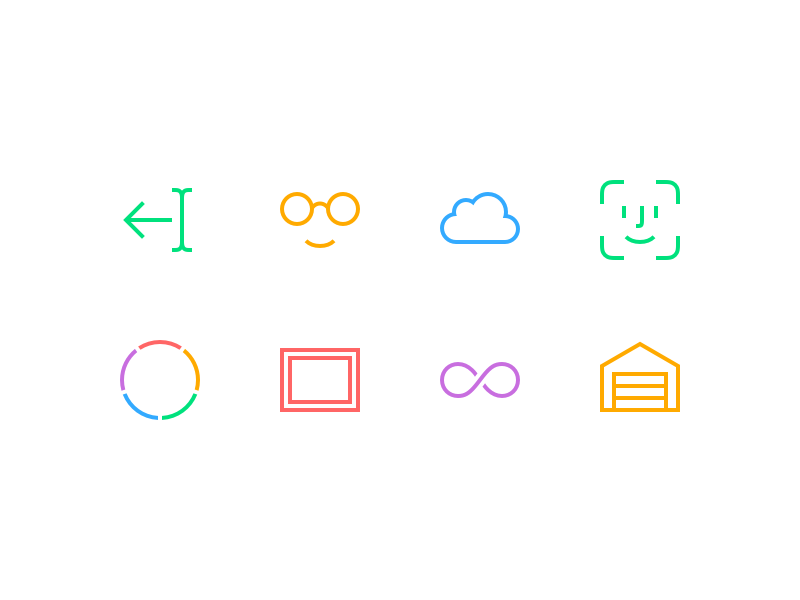 Chars 2 Extra Features colors cursor glasses garage infinity frame faceid cloud pictograms ios icons chars